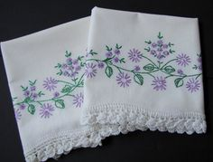 Vintage Embroidery Set of Pillow Cases with by KLBVintageWares, $20.00