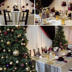 A charming holiday table with a pop of purple.