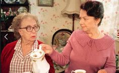 "Last of the Summer Wine "" Edie and Glenda"" Edie: You weren't brought up to shop in boutiques! Glenda: Oh, Mother! Edie: Drink your coffee! British Sitcoms, British Comedy, British Actresses, British Humour, Last Of Summer Wine, Bbc Tv Shows, Keeping Up Appearances, Woman Wine, Comedy Tv"