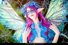 DIY Fairy costume nice touch purple hair elf ears iridescent wings