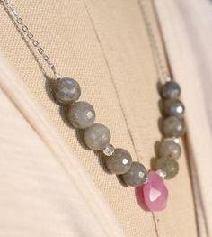 Light Brown Labradorite & Pink Jade Stone Necklace
