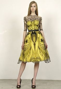 Alexander McQueen yellow and black lace dress