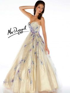 Strapless sweetheart ballgown is detailed with glitter and hand painted peacock feathers. Lovely prom dress to catch everyone's eyes.
