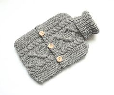 ✔ Hand knit hot water bottle sweater - 100% natural undyed Scottish wool of the highest quality, produced in 19th century heritage mills on a natural rubber bottle