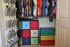 love the idea of the bins in the closet instead of her huge dresser! Smart and Simple Organizing: Organized Child's Closet! Boys Bedroom Paint, Bedroom Decor, Bedroom Ideas, Shoe Rack Hanger, Budget Organization, Organizing Life, Organizing Ideas, Kid Closet, Closet Ideas