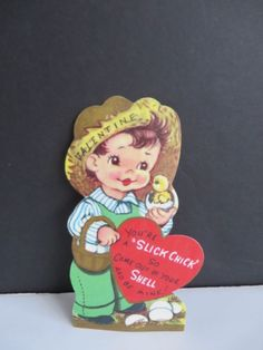 "Vtg Farmer Boy with Chick VALENTINE CARD ""You're a slick chick"""