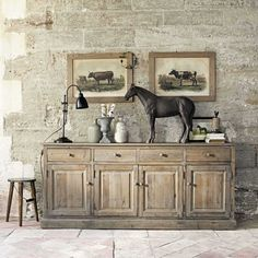 sanding and some wax maybe? Buffet en bois recyclé L 195 cm Pauillac Dining Room Server, Dining Buffet, Sideboard Buffet, Buffet Server, Farmhouse Buffet, Recycled House, Recycled Wood, Painted Furniture, Home Furniture