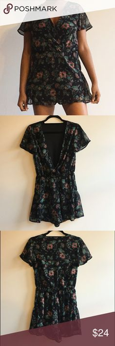 ⚜ Flower Print Romper Black shorts romper with multi-color floral design (pink, salmon, white, blue, yellow, green). Deep v neckline with optional snap. Sheer sleeves, elastic waist.  Happy Poshing! (x trade) Xhilaration Pants Jumpsuits & Rompers