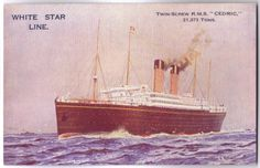 "White Star Line.  R.M.S. Cedric postcard.  Circa 1920's.  R.M.S. Cedric was launched on August 21, 1902 at Harland and Wolff (Belfast, Ireland).  R.M.S. Cedric was scrapped at Inverkeithing in 1932.  R.M.S. Cedric was one of the ""Big Four"".  My great-grandmother Rose Volpicelli (my paternal grandmother's mother) immigrated from Italy and arrived in New York on April 12, 1912 on the R.M.S. Cedric."