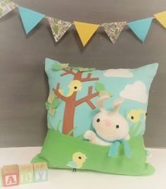 Playful Pillow with Bunny  Children Nursery Decor Toy