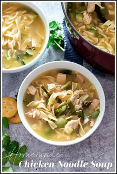 Hearty and healthy, this soup will leave you feeling so good! This homemade chicken vegetable soup is one of those comfort food recipes that is easy to make. Loaded with rotisserie chicken, asparagus, zucchini, and egg noodles, this is a soup you'll want to make again and again! #chickensoup #chickenvegetablesoup #chickennoodlesoup | recipesworthrepeating.com Easy Soup Recipes, Chili Recipes, Vegan Recipes Easy, Salad Recipes, Chicken Recipes, Delicious Recipes, Homemade Chicken Vegetable Soup, Healthy Chicken, Chicken Asparagus