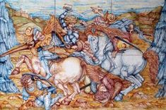 """<p>This luxurious hand painted tile panel depicts the battle of Anghiari, a subject that intrigued many painters, including Leonardo Da Vinci. <br />The featured ceramic panel measures 19.6"""" x 29.5"""" and consists of 6 square tiles - 9.8"""" each.<br />The """"Battle of Anghiari"""" ceramic panel is an ideal <strong>wall decoration</strong>, set as a tile mural or framed like a painting, and a <strong>floor decoration</strong>, set into hardwood or framed by plain tiles to serve as a focal point in any…"""