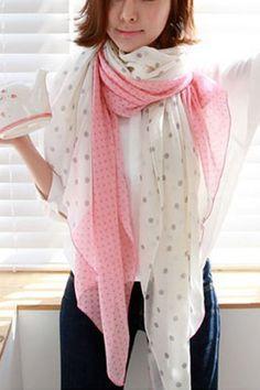 Pink Polka Dot Printed Voile Scarf #Pink #Scarf #maykool