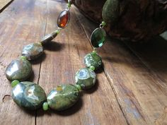 Statement Necklace Rhyolite Necklace Stone Necklace by ReTeTeer