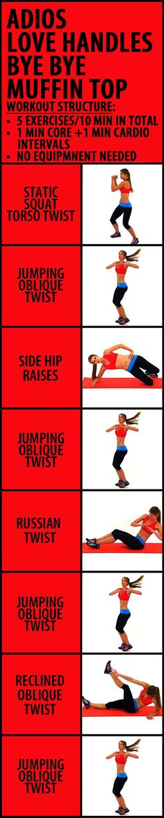 10 minute Adios Love Handles Bye Bye Muffin Top workout to get rid of that pesky belly fat. This is a short but very effective, easy-to-follow cardio and core blend - 8 stomach tightening exercise syou can do at home, no equipment needed. Remember, you will get far better results if you use this routine in conjunction with a combo of the upper & lower strength routines, 2-3x/week each. #abs #slimwaist #workoutforwomen