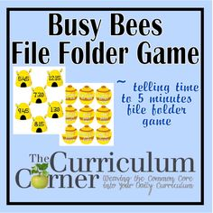 Free Printable Busy Bees Telling Time to 5 Minutes File Folder Game File Folder Activities, File Folder Games, Homeschool Math, Curriculum, Homeschooling, Math Stations, Math Centers, Math Folders, File Folders