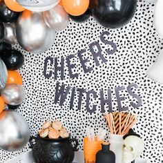 Cheers Witches Halloween Party Decorations    These fun and vibrant festive holiday decorations are PERFECT for upcoming Halloween parties, school parties, birthday parties, and all hollows eve!     Party supplies. decor, signs, balloons, garland, cake toppers, and much more!     CLICK NOW TO PURCHASE>>    #Halloween #partydecor #boo #withces #partysupplies Halloween Backdrop, Halloween Balloons, Halloween Banner, Halloween Table, Halloween Party Decor, Pumpkin First Birthday, First Birthday Parties, First Birthdays, Holiday Decorations