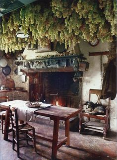 the World of Interiors - cuisine rustique Witch Cottage, Cottage In The Woods, Witch House, Medieval Bedroom, World Of Interiors, Kitchen Witch, Rustic Kitchen, Western Kitchen, My Dream Home