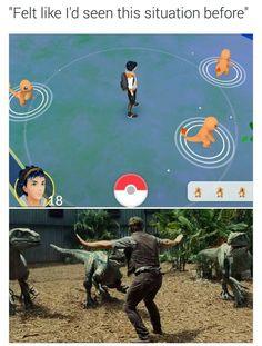 "Felt like I""d seen this situation before.  #jurassicworld #pokemongo #charmander"