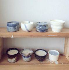 Hand poured soy wax with lavender scented in ceramic bowl.