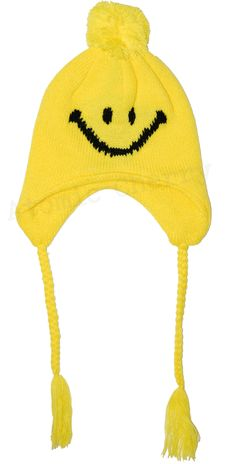 Toddler Knit Beanie Smiley Face Hat Cute Kids Childrens | eBay