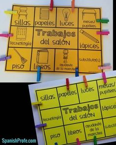 Simple Bilingual Classroom Job Chart (Spanish Trabajos del salon)