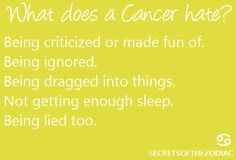 This is spot on when it comes to this Cancer.
