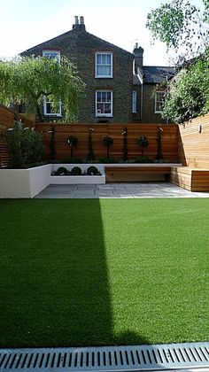 Quick To Build Moveable Greenhouse Options Modern Garden Design Courtyard Easy Lawn Grass Cedar Hardwood Privacy Screen Trellis Low Maintenance Planting Sandstone Patio Paving London . Contemporary Garden Design, Small Garden Design, Landscape Design, Modern Design, Garden Modern, Modern Fence, Landscape Architecture, Modern Patio, Post Modern