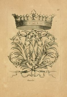 Engraving, Crown and Flourish, 1685