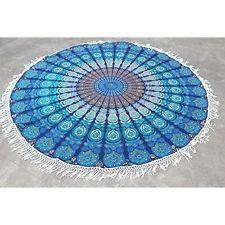 Round Mandala Tassle Fringe Turquoise Beach Throw Roundie Yoga Mat Table Cover