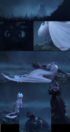 Toothless meets a light fury! Pictures from the original trailer