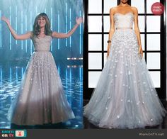 Rachel's floral strapless gown on Glee.  Outfit Details: http://wornontv.net/43396/ #Glee
