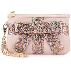 Betsey Johnson That's A Wrap Sequined Wristlet ($39) ❤ liked on Polyvore featuring bags, handbags, clutches, betsey johnson purses, sequin handbags, bow purse, betsey johnson and sequin wristlet