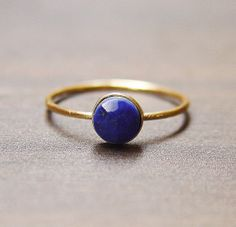Round Lapis Gold Ring by friedasophie on Etsy, $79.00