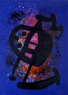 Signed Joan Miró Color Lithograph on Arches Vellum Paper, Le Grand Écart (The Great Gap), 1969 at Masterworks Fine Art Gallery.