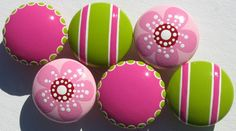 Set of 6 Hand Painted Drawer Knobs Hot Pink by sweetmixcreations
