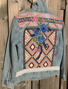 e11bc5e4 How great is this embellished denim jacket? Modern Hippie, Hippie Chic,  Denim Art