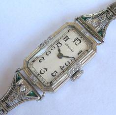 Ladies 1925 Longines 18K SOLID GOLD Diamonds Emeralds Deco Watch & 14K BRACELET  All Original, 14K Pure GOLD Band