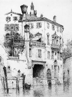 Sketch of Houses near SS. Giovanni e Paolo, Venice, Andrew Fisher Bunner (1841–1897)