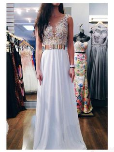 Gorgeous Applique V-neck Backless Long Chiffon Prom Dresses, Evening…