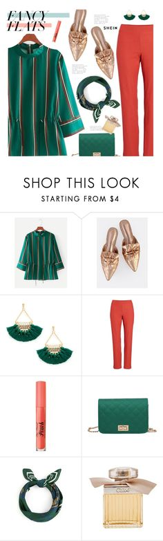 """""""#FancyFlats"""" by meyli-meyli ❤ liked on Polyvore featuring Eileen Fisher, Too Faced Cosmetics, Chloé, shein and fancyflats"""