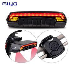 GIYO Laser Bike Taillight USB Rechargeable LED Cycling Rear Light Lamp 85 Lumen Mount Red Lantern