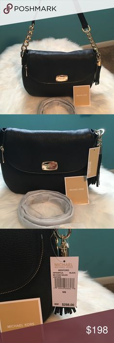 88f2964154d Michael Kors Bedford Black MD CONV LEATHER BAG NWT Brand New With Tags 100%  Authentic