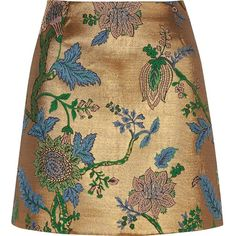 River Island Gold floral embroidered mini skirt ($44) ❤ liked on Polyvore featuring skirts, mini skirts, bottoms, river island, metallic mini skirt, short mini skirts, short gold skirt and beige mini skirt