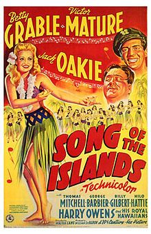 Song of the Islands //  Directed by	Walter Lang  Produced by	Darryl F. Zanuck  William LeBaron  Written by	Joseph Schrank  Robert Pirosh  Robert Ellis  Helen Logan  Starring	Betty Grable  Victor Mature  Music by	Alfred Newman  Cinematography	Ernest Palmer  Editing by	Robert L. Simpson  Distributed by	20th Century Fox  Release date(s)	13 March, 1942