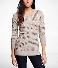 Express | Studded Front Pullover Sweater | Light Sand