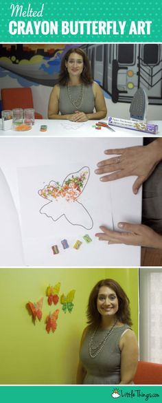 What a fun and easy craft project to do with kids! Create beautiful crayon butterfly wall art at home.
