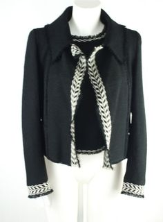 CHANEL Black & Cream Trim Wool Mix Two Piece Jacket  & Top EUR38 US6 UK10