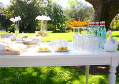 white party decor and food