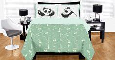 Sleepy Pandas bed set! Awww... love the pillowcases!